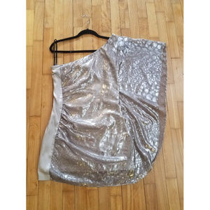 Bebe Silver Metallic Drama Sleeve Dress Small
